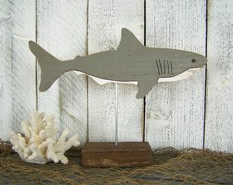 Shark Sculpture Wood Fish Sculpture Shark Gift Beach House Decor Beach Theme Decor Beach Office Decor Dorm Decor Beach Lover Beach Gift