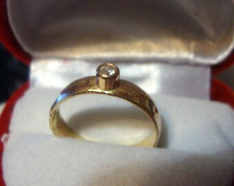 Diamond Ring, 4mm wide 14k yellow gold solid, Clean White .1 ct Conflict Free Natural Diamond, engagement/wedding, Custom made in USA by Me