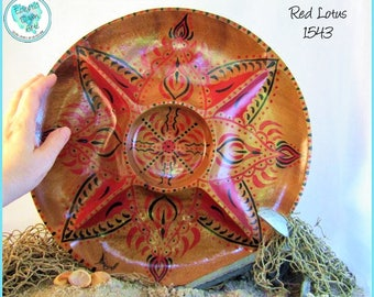 Tribal Abstract Red Lotus Hand Painted Wood Bowl, Decorative Art, OOAK, #1543