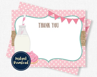 Milk and Cookies Thank You Cards, Cookie Thank You Notes, Birthday Thank You, Girl Thank You Cards, Printable INSTANT DOWNLOAD