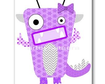 Monster Nursery Art for Children Printable Digital Print Baby Girl Nursery Print Digital Download Print 8x10 11X14 INSTANT DOWNLOAD violet