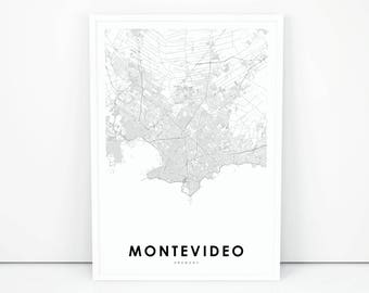 Map of uruguay etsy montevideo map print uruguay map art poster city street road map print nursery publicscrutiny Gallery