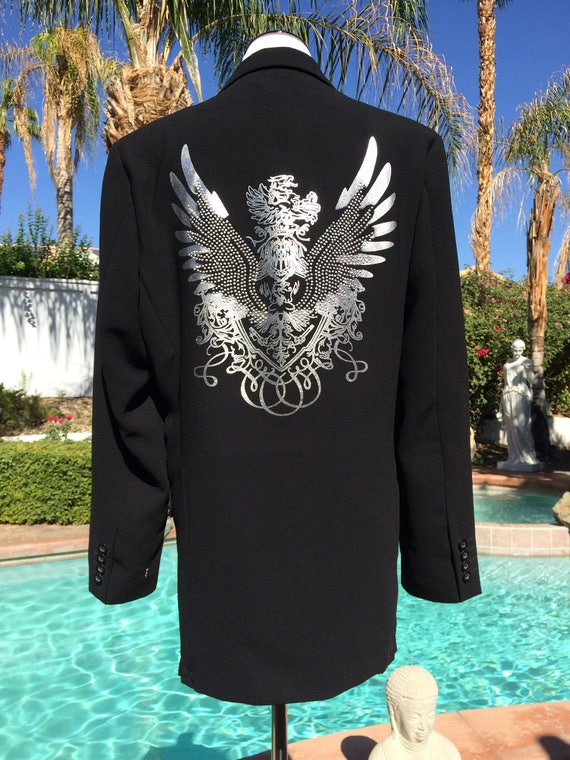 Unique Black Crested Jacket with Metallic Crest on Front and Back,Embellished with Studs,Men's.