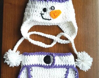 Snowman hat and diaper cover