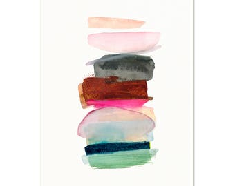 Bright & Colorful Watercolor Abstract Art Print. Minimalist Nursery Decor. Modern Contemporary Painting. Apartment Art. Colorful Wall Art.