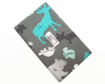 Deer Light Switch Cover - Woodland Switch Plate Cover - Gender Neutral Nursery - Grey Aqua Nursery
