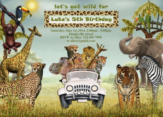 Free Printable Kids Birthday Invitations ~ Jungle animals safari birthday invitation kids birthday party
