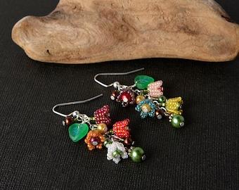 Bright Spring flower earrings