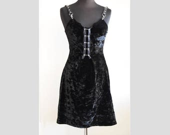 Black chenille dress, velvet dress, faux leather straps, gothic, goth, alternative, club wear, size XS / S, Small