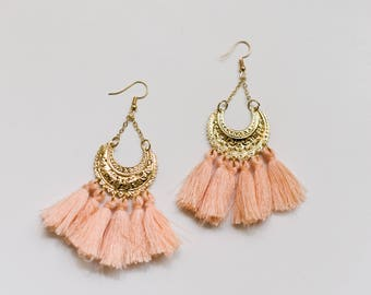 Peach tassel earrings, Tassel earrings, Statement tassel earrings, Hoop tassel earrings, Tassel hoop earrings, Statement earrings