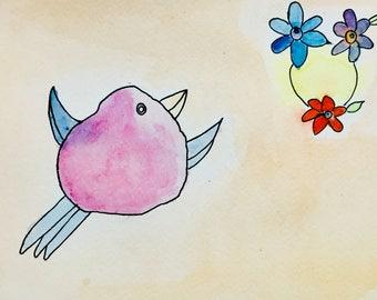 Original Watercolour Bird Painting, Dream Bird