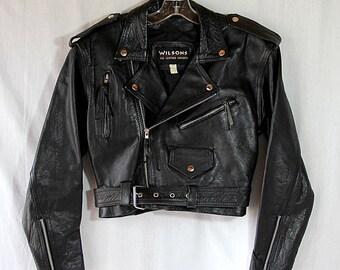 Wilsons Black Leather Jacket, Biker Chick, Motorcycle Jacket, Rocker, Rockabilly