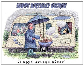 Funny comic caravan camping trailer PERSONALISED BIRTHDAY CARD