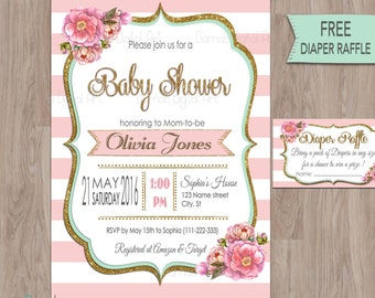 Pink gold mint baby shower invitation, pink mint baby shower invitation, Baby Shower Invitation pink mint, baby girl shower, printable