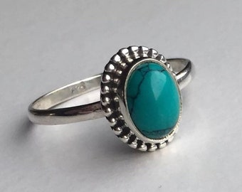 925 Sterling Silver ladies Turquoise Ring