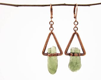 Moldavite Triangle Earrings | Tektite Earrings | Raw Moldavite | Crystal Earrings | Geometric Earrings | Copper | Leverback Dangle Earrings