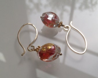 "Murano Glass Earrings ""Rubino Gold Silver"". Venetian Glass Jewelry. Murano Earrings. Italian Jewelry. Boucles d'oreilles rouges. Joyas Rojas"