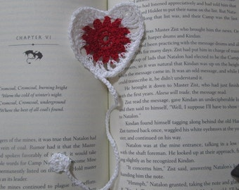 Delicate Crochet Heart Bookmark
