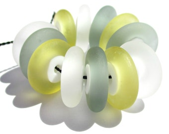 Fresh Linen Discs (12) Lampwork Beads -SRA