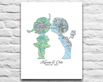 Custom Wedding Couple Vintage Maps DIGITAL DOWNLOAD for you 2 Print, Wedding Engagement Valentines Day, Gift for Couple,diy, 8x10 11x14