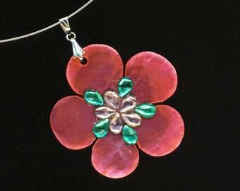 Hot Pink Mother of Pearl Choker Pendant . Cherry Blossom . Valentine . Green Lilac Purple Rhinestones - Rose Spring by enchantedbeas on Etsy
