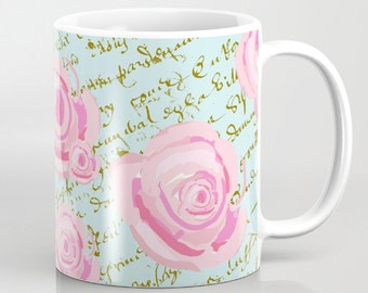 Mug, Shabby Chic Watercolor Roses on Paris blue with gold French Script 11oz and 15 oz