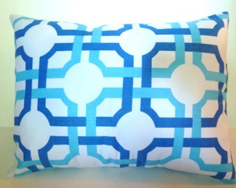 Closeout! Geometric Blues Pillow Cover Accent Throw 3 sizes