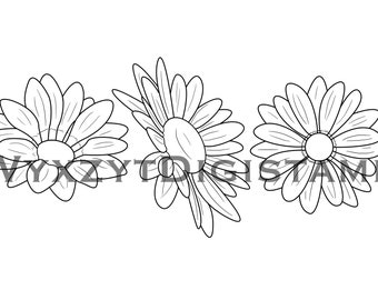 Flower digistamp set/Daisy digistamp/flower coloring page/instant download printable art