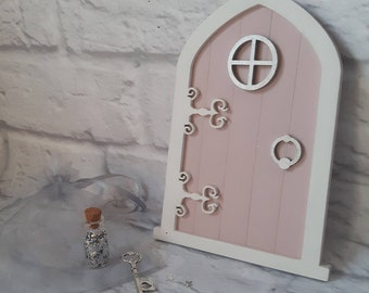 Fairy Door Set. Hand painted wooden fairy door for indoor.  Gift boxed with fairy dust, magic key and a poem.  The perfect gift for girls
