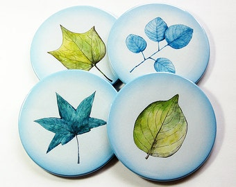 Drink Coasters, Nature Coasters, Coasters, Hostess Gift, Tableware, Barware, Cottage Chic, Leaves, Nature, Blue, Blue coasters (5097)