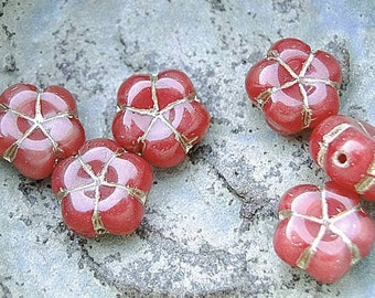 Small price! retro Bohemian beads 10 - Red Asian flower Orange 10 mm in size