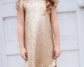 Toddler Girl's Gold Sequin Shift Dress, Gold Sequin, Wedding, Special Occasion Dress, Gold, Birthday, Easter