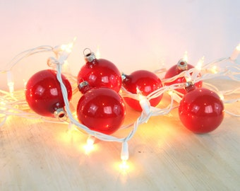 Red Christmas Balls, Vintage, Set of Five, Glass, Red Decor, Christmas Decor, Tree Ornaments, Hostess Gift, Holiday, Hanging Decor (WTH-656)