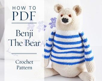 crochet pattern, Benji The Bear, step by step US terms DIY pattern ready to download by CrochetObjet