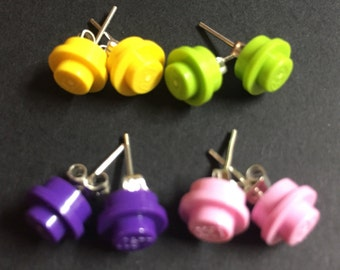 Cool Colors Round Plate Stud Earrings