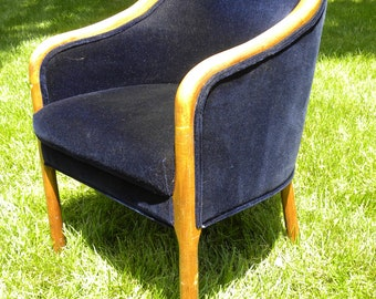 Vintage Mid Century Blue Velvet Barrel Chair