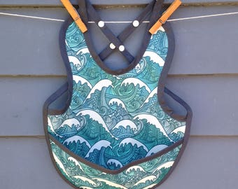 Waterproof PUL baby bib, adjustable, ocean waves print with snaps and pocket