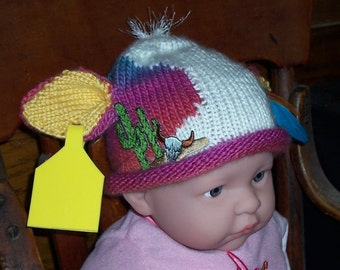 Desert Mooin' Newborn Holstein Baby Hat Beanie, Knit Holstein on Parade baby hat