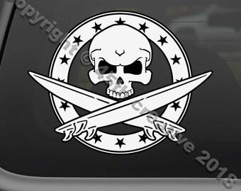 Surfer skull crossbones decal sticker, surfing window decal sticker, surf skull decal sticker, surfers decal sticker, surfboard decal
