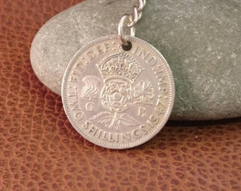 1947 King George VI British Two Shillings Coin Keyring, English Coin Keychain. British Coin Key Ring