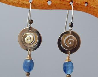 Bronze Spiral Earrings with Kyanite Dangles  J-2252