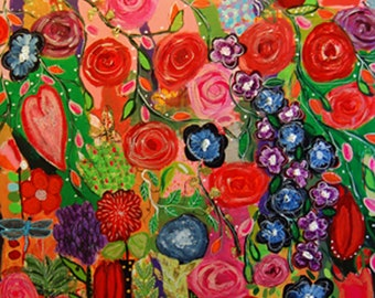 Colorful floral print, flower print, red, pink,blue, purple, flowers, hearts, dragonfly, butterflies, 11 X 11, heres my hart