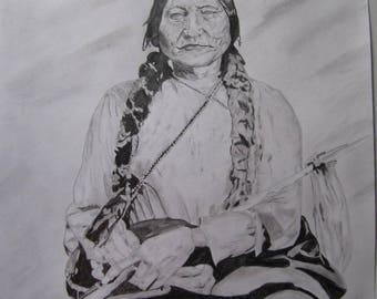 Drawing Original Fine Art A3 29.7 x 42 Sitting bull, Indian, Native American