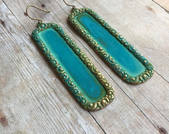 Large Art Deco Earrings Verdigris Patina Jewelry