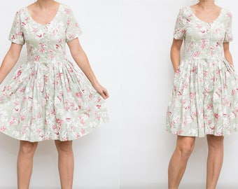 90s Floral Summer Cotton Dress / Size M / Retro Sundress / Floral Party Dress /