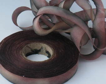 Silk Ribbon ,Hand Dyed Silk Ribbon, bias-cut 7/16wide TZ