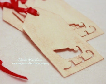 Christmas Tags (Double Layered) - Santa's Sleigh Tags - Cut-Out Tags- Handmade Vintage Inspired Christmas Gift Tags - Set of 5