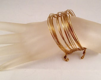 Wide Stacked Gold Brass Bangle Bracelet 1 Inch Wide Fits All Sizes Previously Forty Five Dollars ON SALE