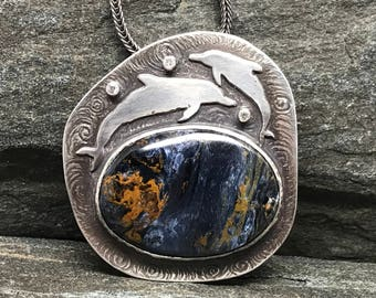 Blue Pietersite Dolphin Necklace with Moissanite, Ocean Theme Necklace, Sterling Silver,Chatoyant blue Gemstone, Made in NH, Art Jewelry