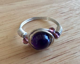 Amethyst and Sterling Silver Wire Wrapped Ring